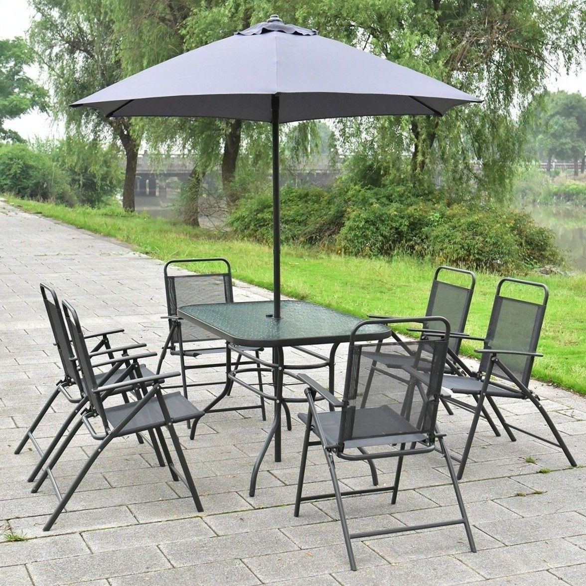 2018 Folding Outdoor Dining Tables Inside Patio 6 Piece Outdoor Dining Set Furniture Table Folding Chairs (Gallery 13 of 25)