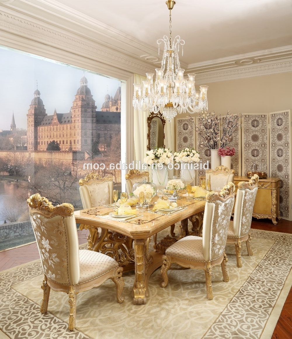 2018 French Royal Solid Wood Golden Color 6 Person Dining Table/dining with Royal Dining Tables