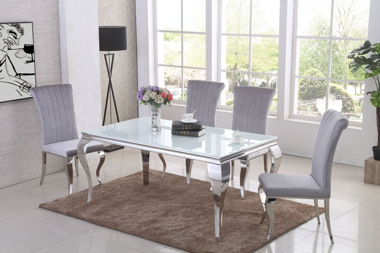 2018 Ga Liyana White Dining Table & 4 6 Grey Chairs Within White Dining Tables (View 17 of 25)