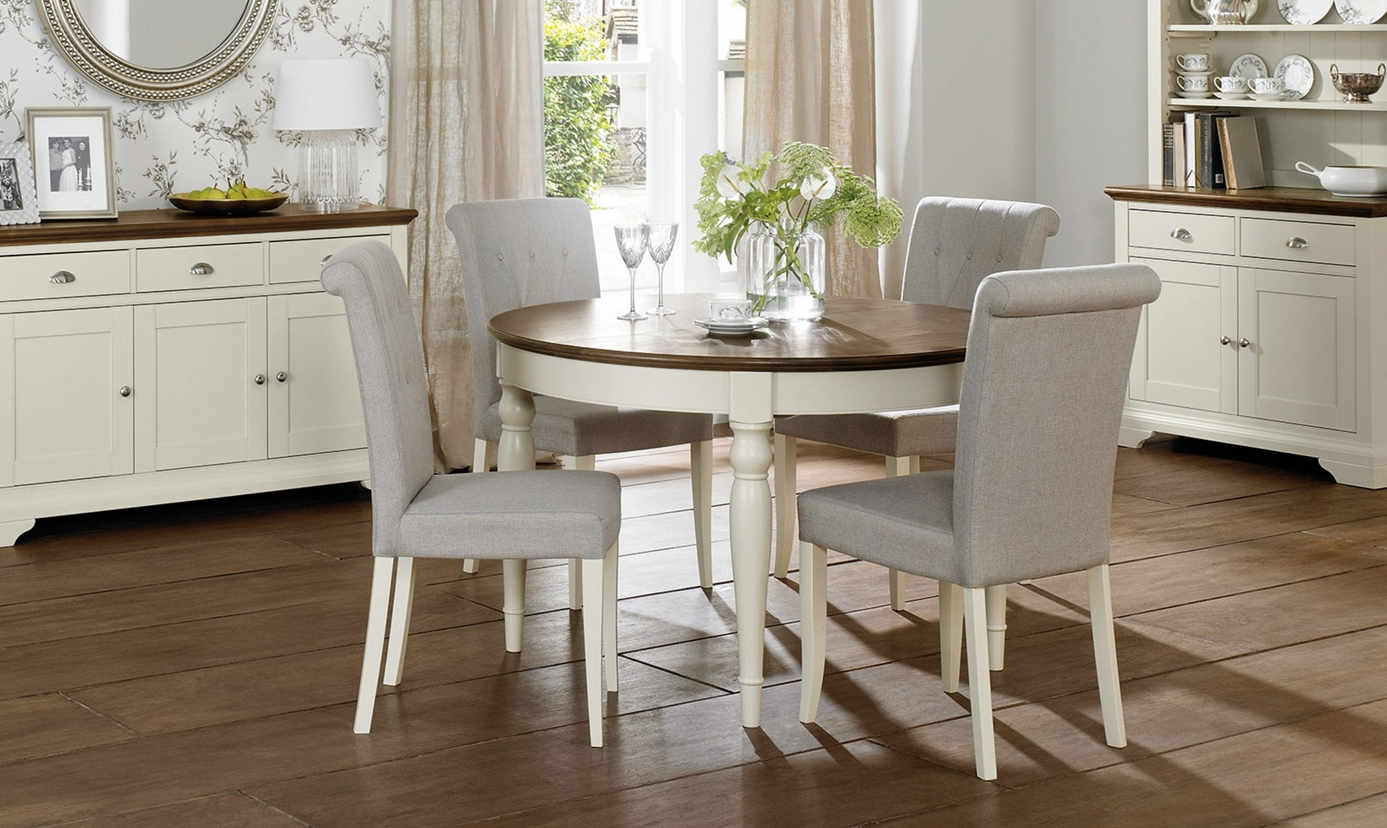 2018 Georgie Round Extending Dining Table 4 Chairs Grey, Extended Dining In Extended Round Dining Tables (View 2 of 25)
