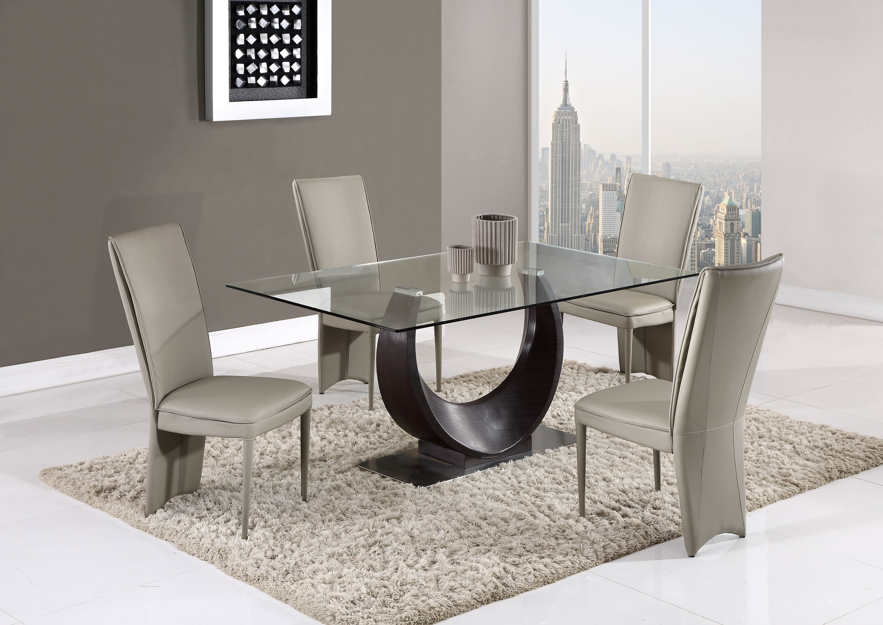 2018 Half Moon Dining Table Sets Pertaining To Contemporary Half Moon Glass Table With Taupe Side Chairs San Jose (View 1 of 25)
