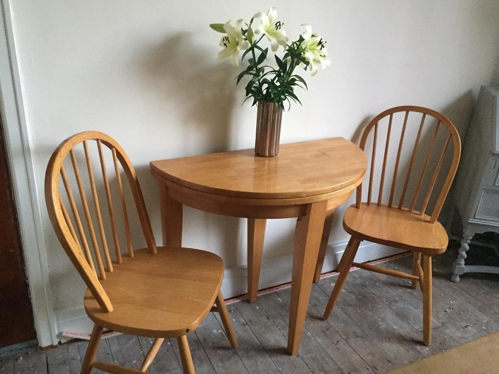 2018 Half Moon Dining Table Sets throughout Half Moon Fold Out Dining Table Compact Consort Extending Plus Two