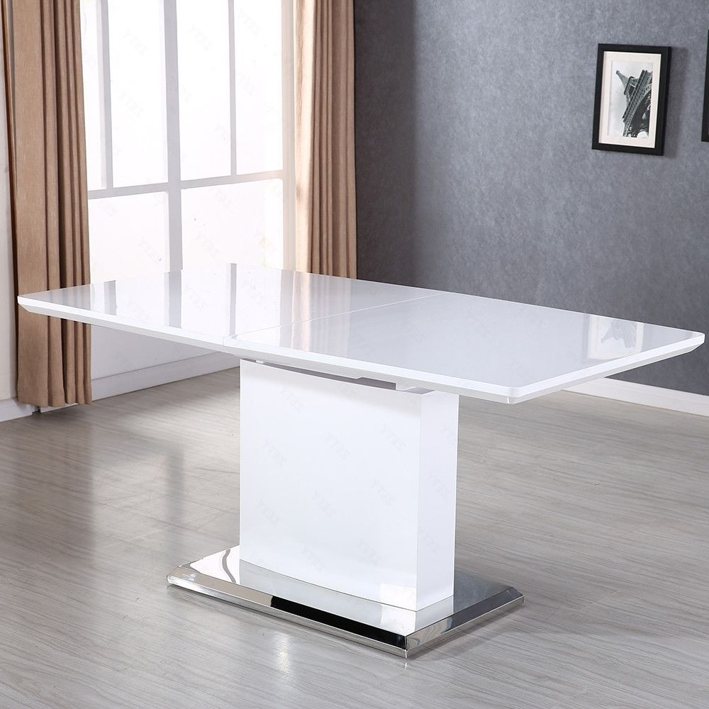 2018 High Gloss Extendable Dining Tables In High Gloss White Mdf Extendable Dining Table With Stainless Pedestal (View 23 of 25)
