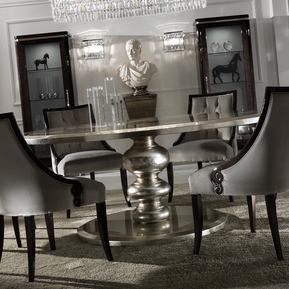 2018 Huge Round Dining Tables In Large Round Italian Champagne Leaf Dining Table (View 8 of 25)