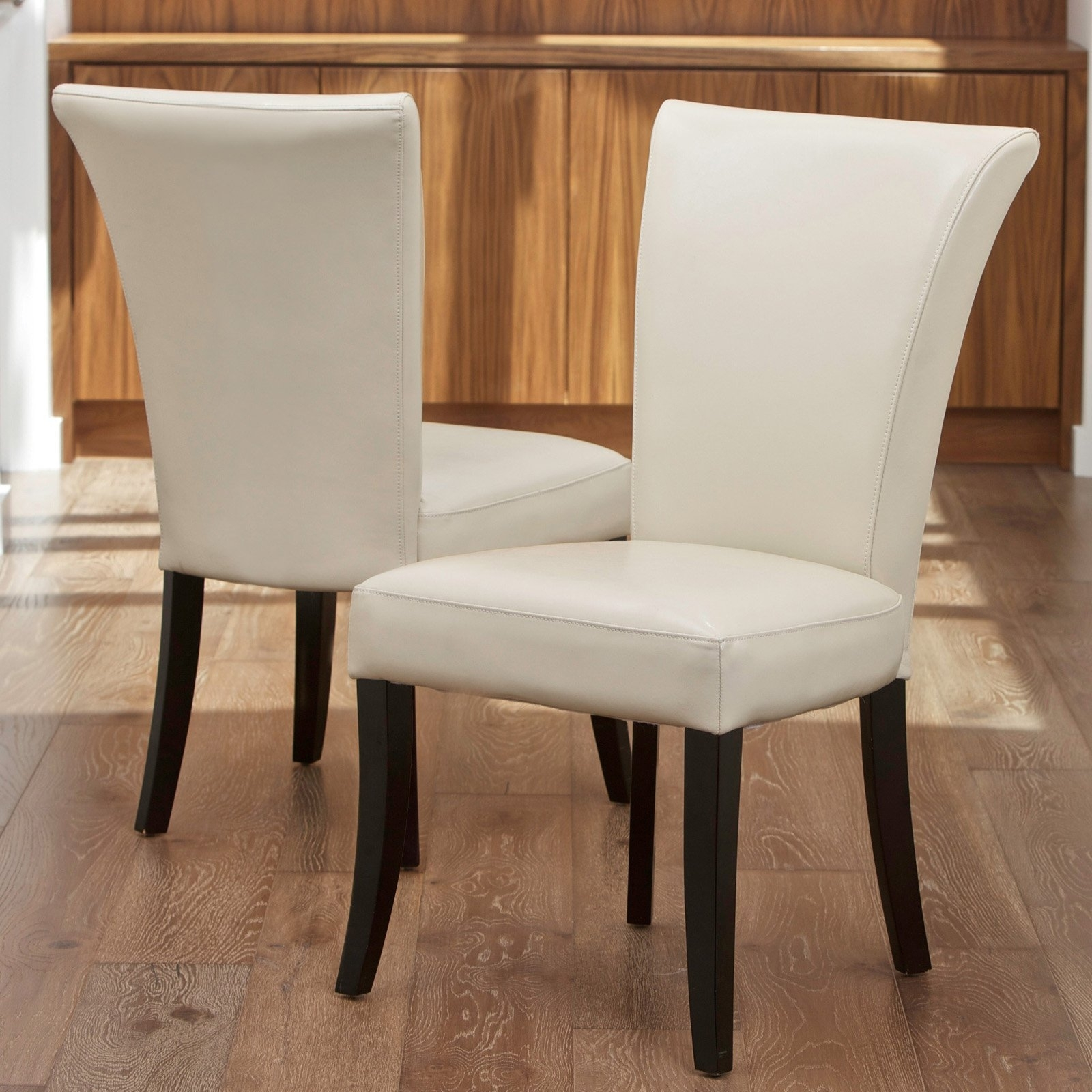 2018 Ivory Leather Dining Chairs inside Stanford Ivory Leather Dining Chairs - 2 Pack - Walmart