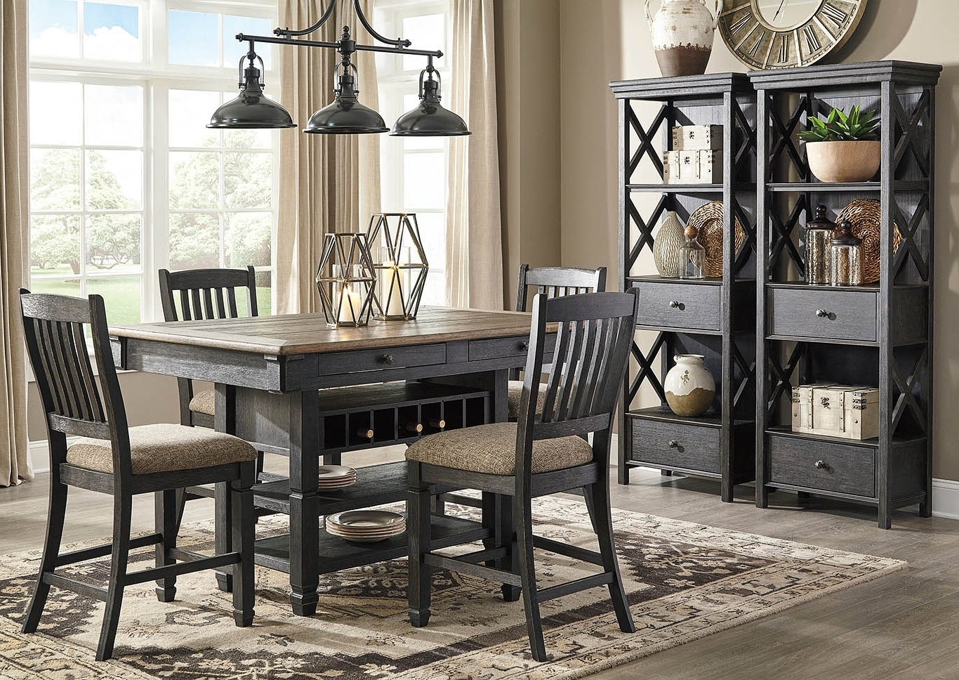 2018 Langlois Furniture – Muskegon, Mi Tyler Creek Black/grayish Brown 7 For Jaxon 5 Piece Extension Counter Sets With Fabric Stools (View 14 of 25)