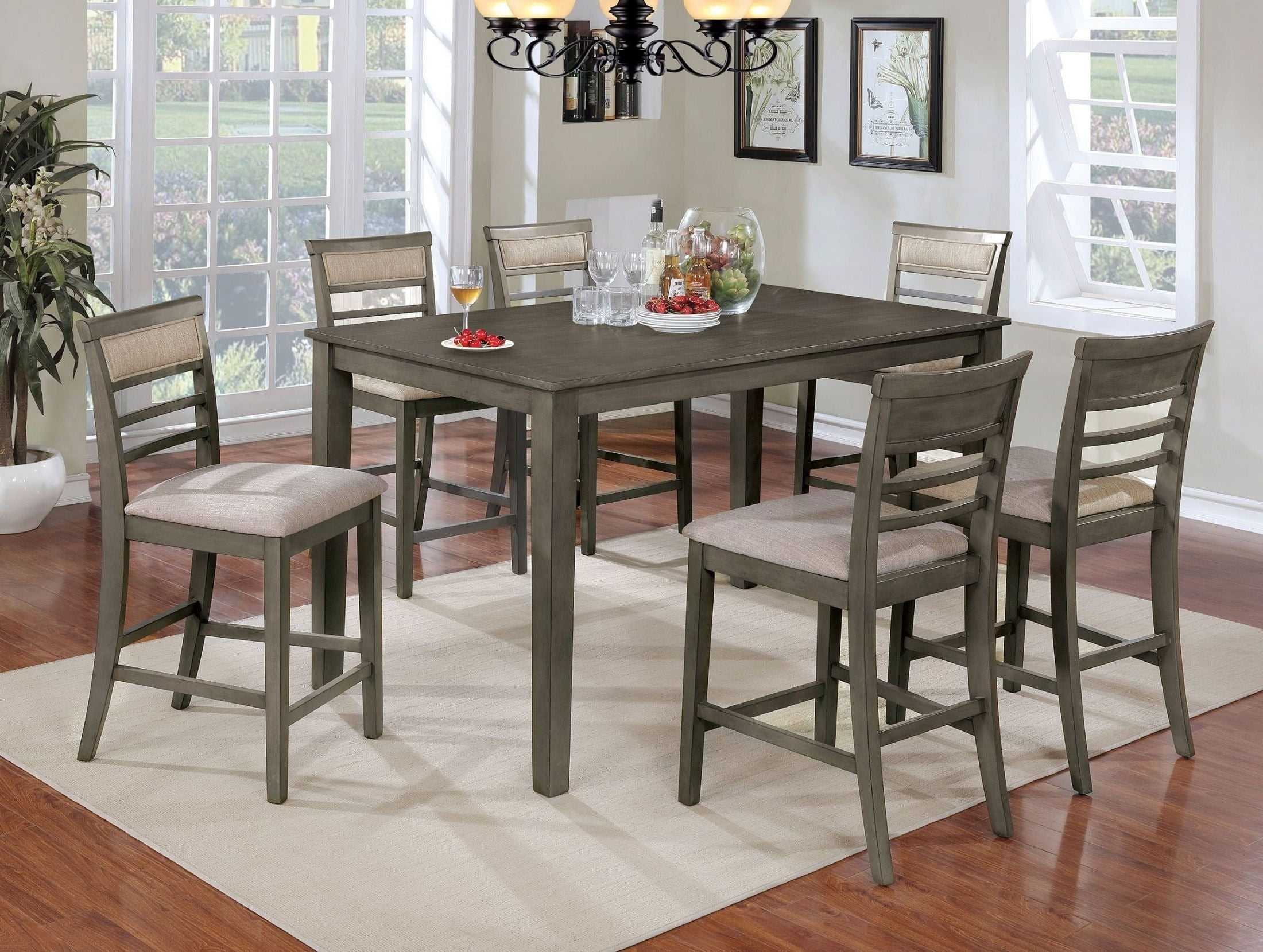 2018 Laurent 7 Piece Rectangle Dining Sets With Wood Chairs In Fafnir Gray 7 Piece Counter Height Dining Room Set From Furniture Of (View 10 of 25)