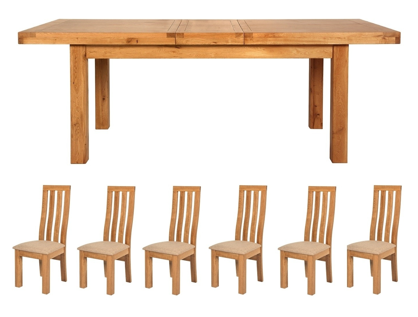 2018 Manor Solid Light Oak Large Extending Dining Table And 6 Chairs Set With Oak Extending Dining Tables And 6 Chairs (Gallery 25 of 25)