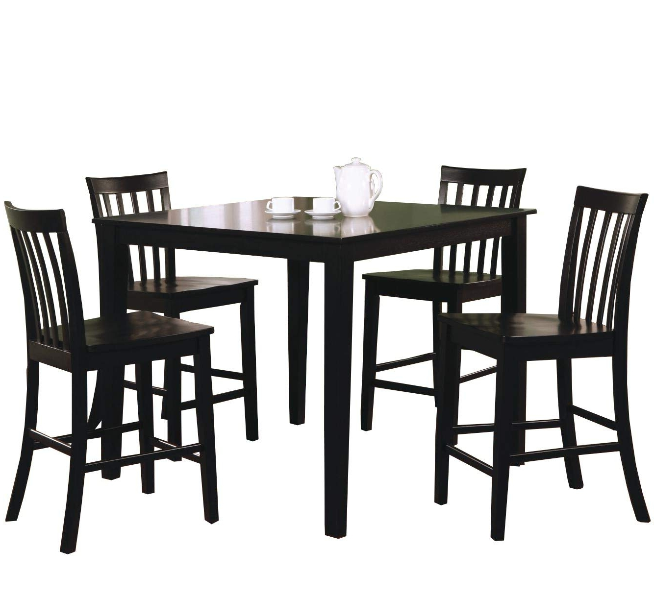 2018 Market 5 Piece Counter Sets Intended For Amazon – Coaster 5 Piece Dining Set With 4 Barstools, Black (Gallery 25 of 25)