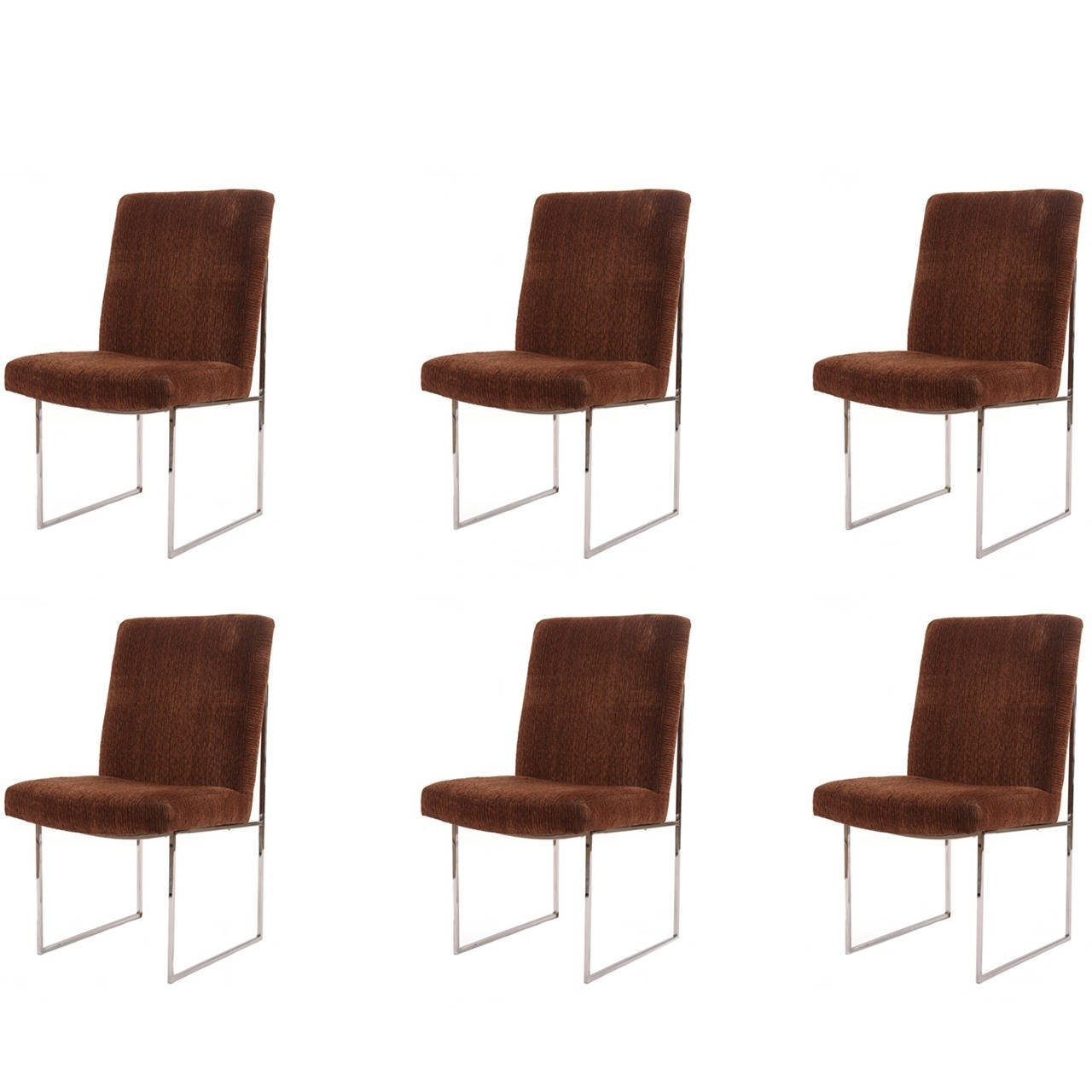 2018 Milo Baughman Thayer Coggin Chrome And Upholstered Dining Chairs With Regard To Chrome Dining Chairs (View 2 of 25)