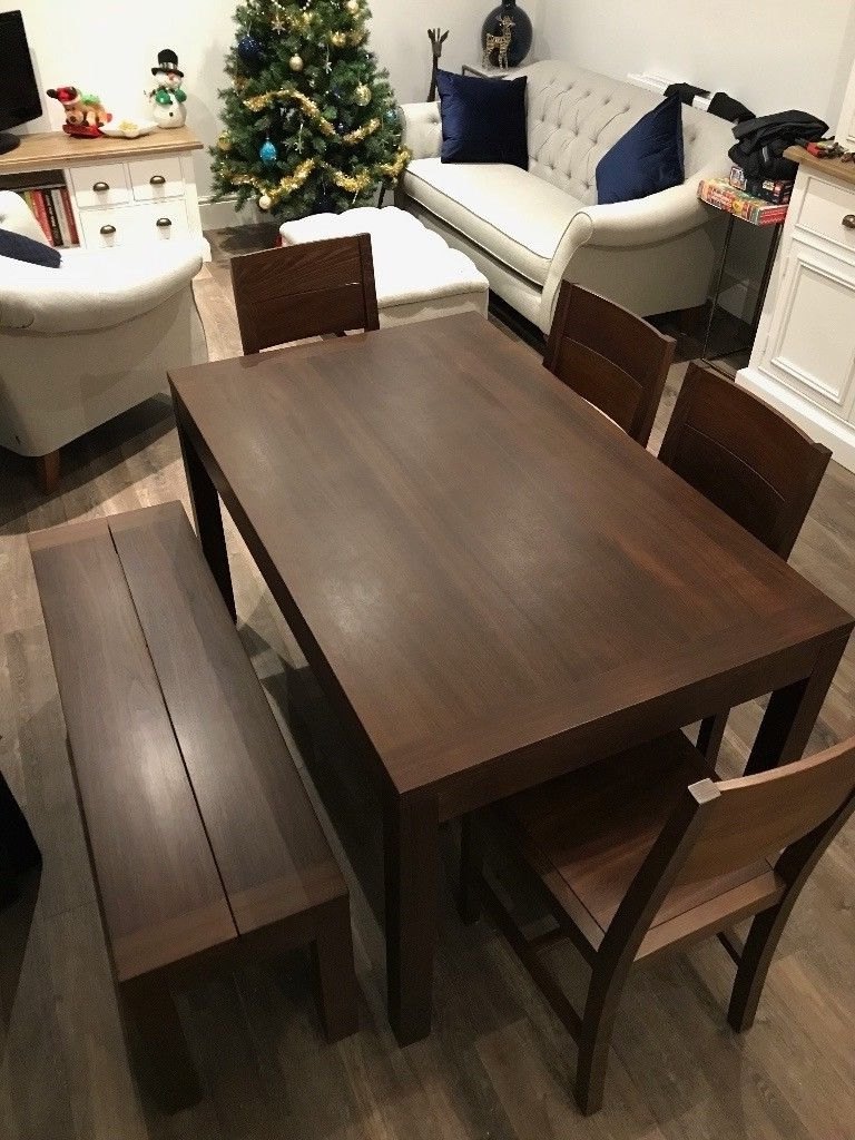 2018 Modern Dark Brown Wooden Dining Table, X4 Chairs And Bench – 6 Seater (Gallery 1 of 25)