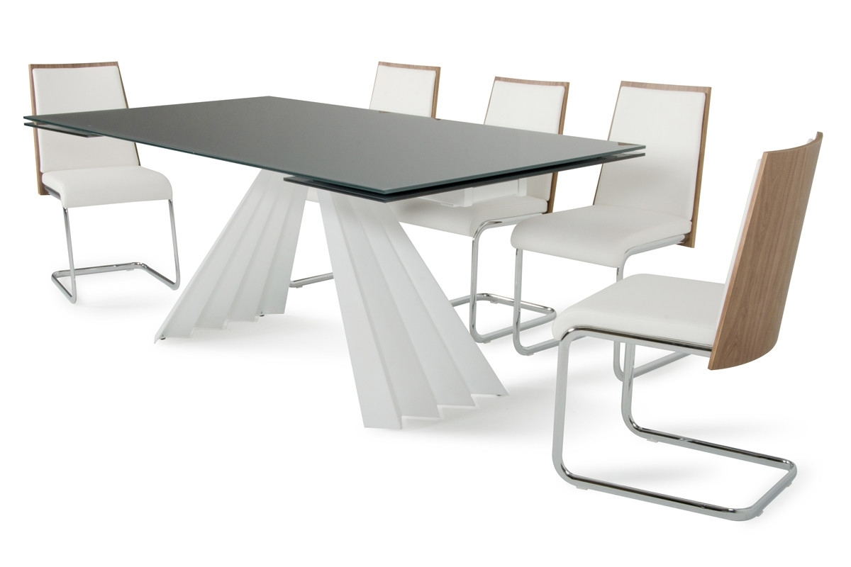 2018 Modrest Milk Modern Extendable Smoked Glass Dining Table pertaining to Smoked Glass Dining Tables And Chairs
