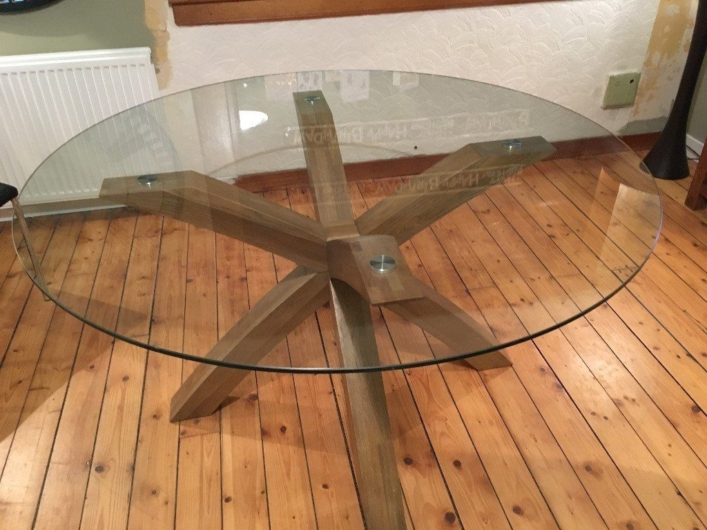 2018 Next Oak And Glass Round (140 Cm Diameter ) Dining Table And 6 Black throughout Round Glass And Oak Dining Tables