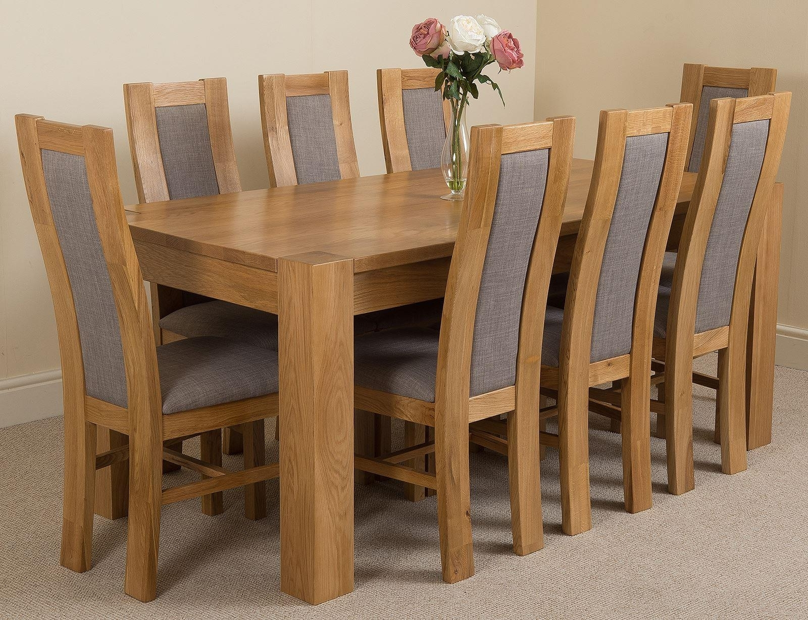 2018 Oak Dining Tables And Fabric Chairs for Kuba Solid Oak Dining Table & 8 Stanford Solid Oak Fabric Chairs