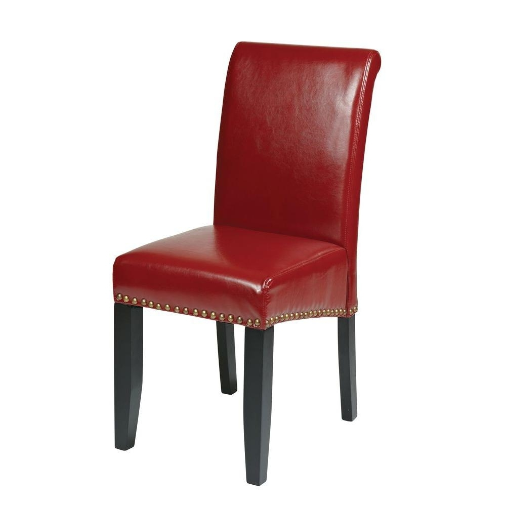 2018 Ospdesigns Crimson Red Eco Leather Parsons Dining Chair Met87Rd With Red Dining Chairs (View 5 of 25)