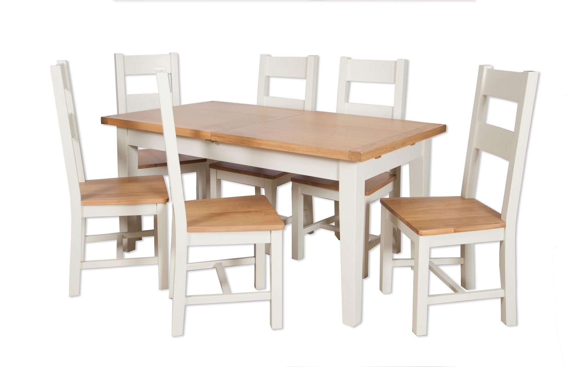 2018 Painted Ivory 1.2M Ext Dining Table And Six Chairs – Cambridge Home Throughout Ivory Painted Dining Tables (Gallery 12 of 25)