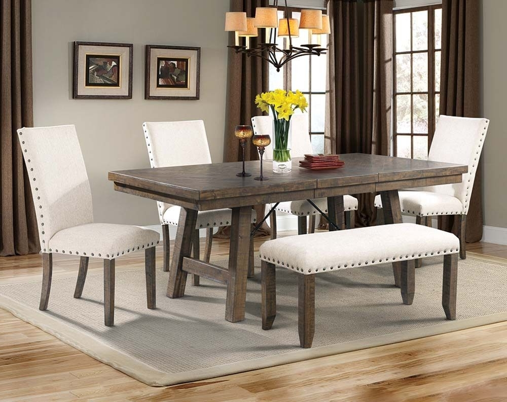 2018 Parquet 6 Piece Dining Sets regarding Natural Wood Dining Set, White Upholstery