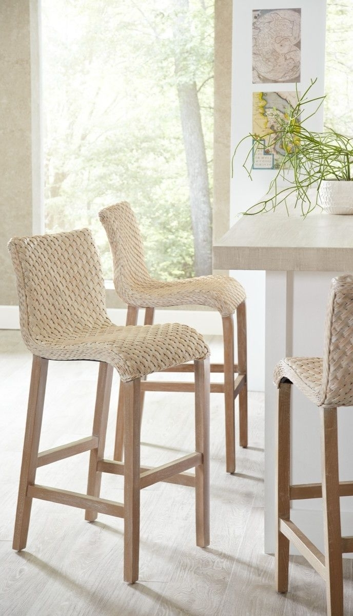 2018 Pull Up One Of Our Gracefully Flowing Sanders Wicker Barstools, And in Laurent 7 Piece Counter Sets With Upholstered Counterstools