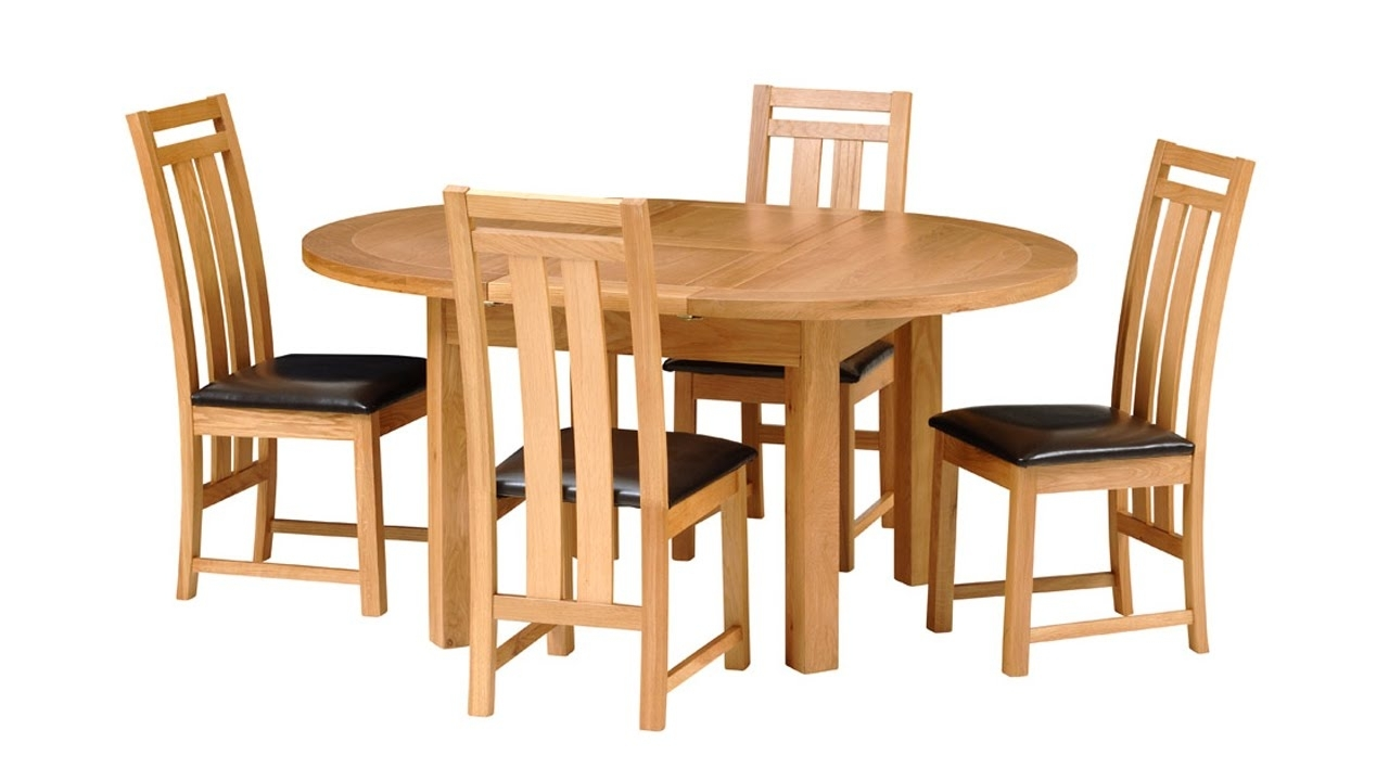 2018 Richmond Oak 120Cm 160Cm Extending Round Dining Table – The Cotswold Intended For Norwood 6 Piece Rectangle Extension Dining Sets (Gallery 9 of 25)