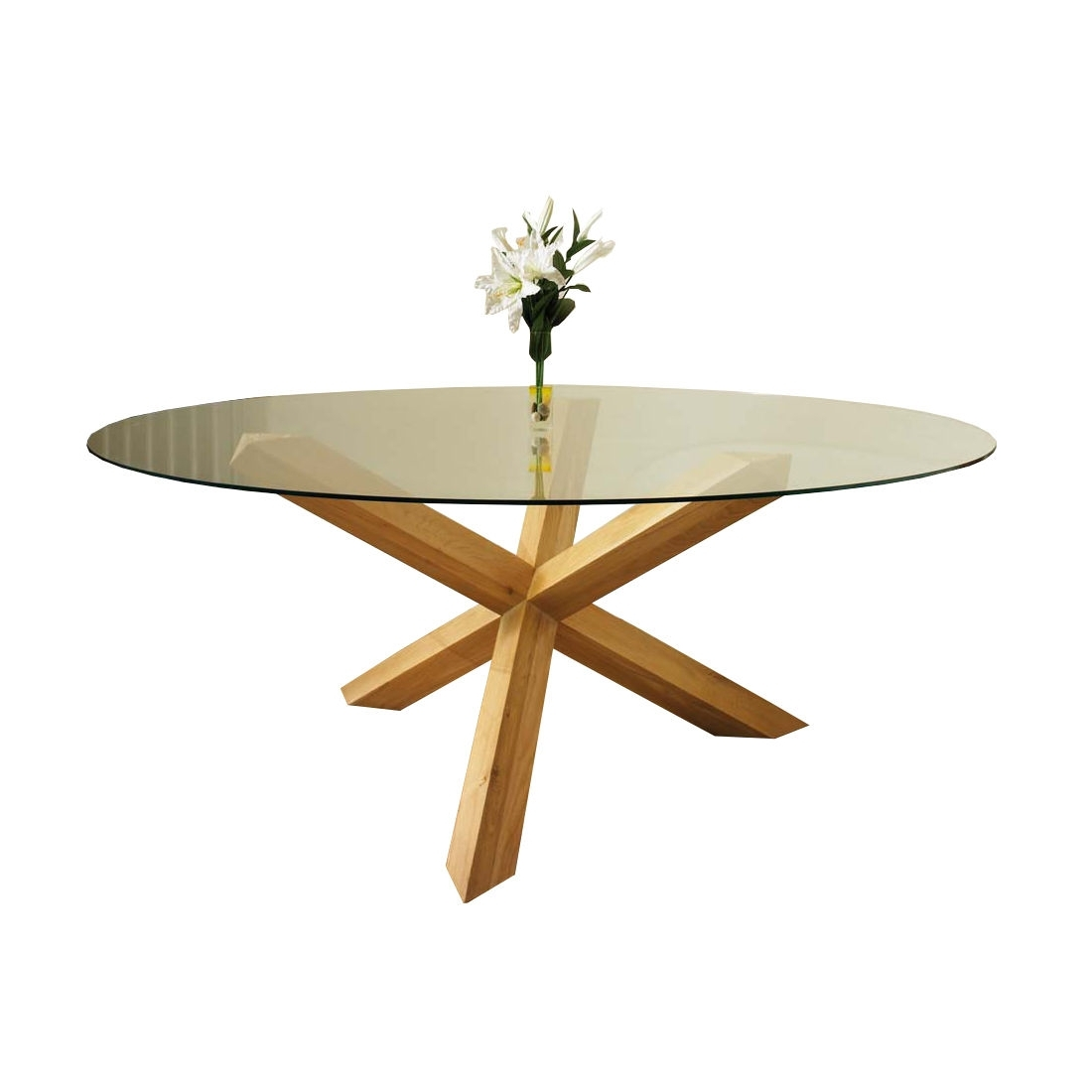 2018 Round Glass And Oak Dining Tables For Tfw 183Cm Round Glass Dining Table With Oak Pedestal (Gallery 19 of 25)