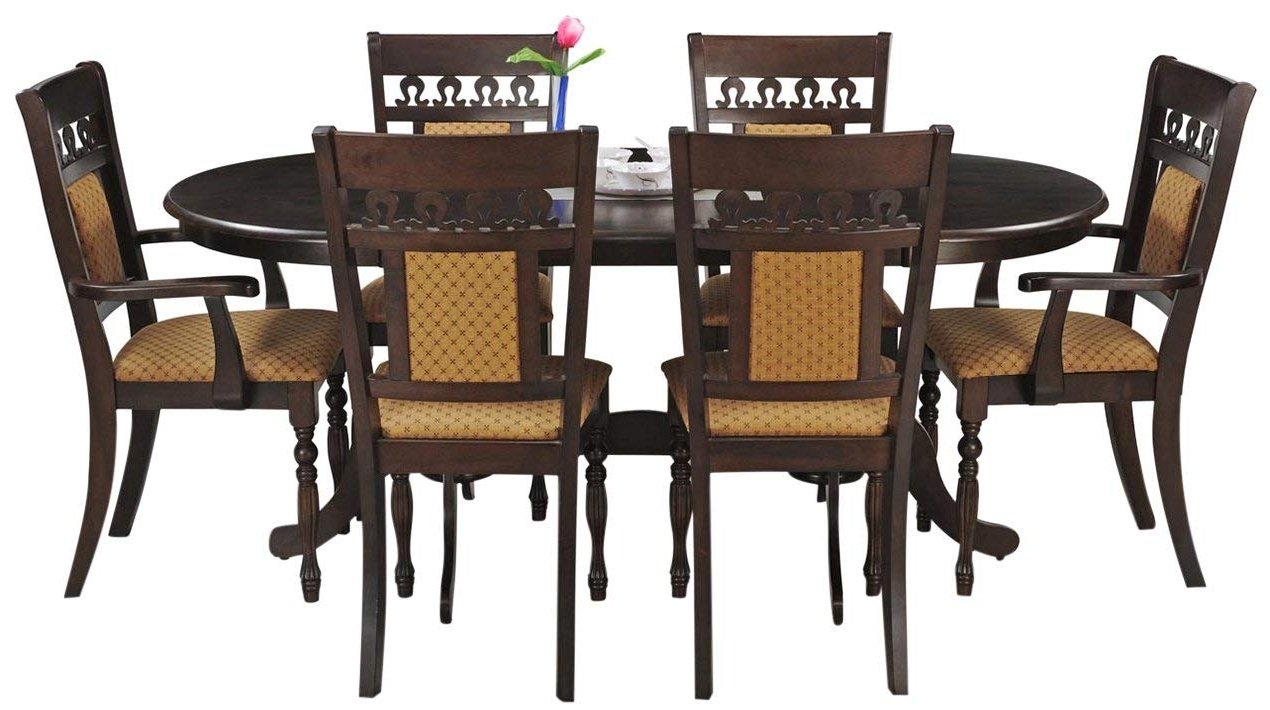 2018 Royaloak Angel Six Seater Dining Table Set (Walnut) (Gallery 24 of 25)