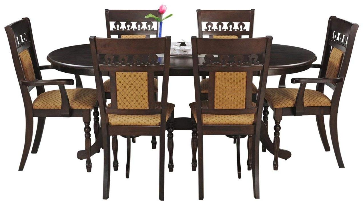 2018 Royaloak Angel Six Seater Dining Table Set (Walnut)