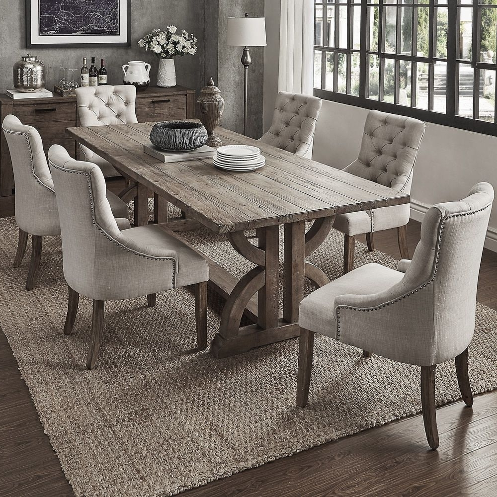 2018 Shop For Voyager Wood And Zinc Balustrade 7 Piece Rectangl Intended For Jaxon Grey 7 Piece Rectangle Extension Dining Sets With Wood Chairs (Gallery 14 of 25)