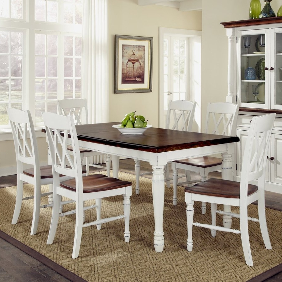 2018 Shop Home Styles Monarch White/oak 7-Piece Dining Set With Dining for White Dining Tables And Chairs