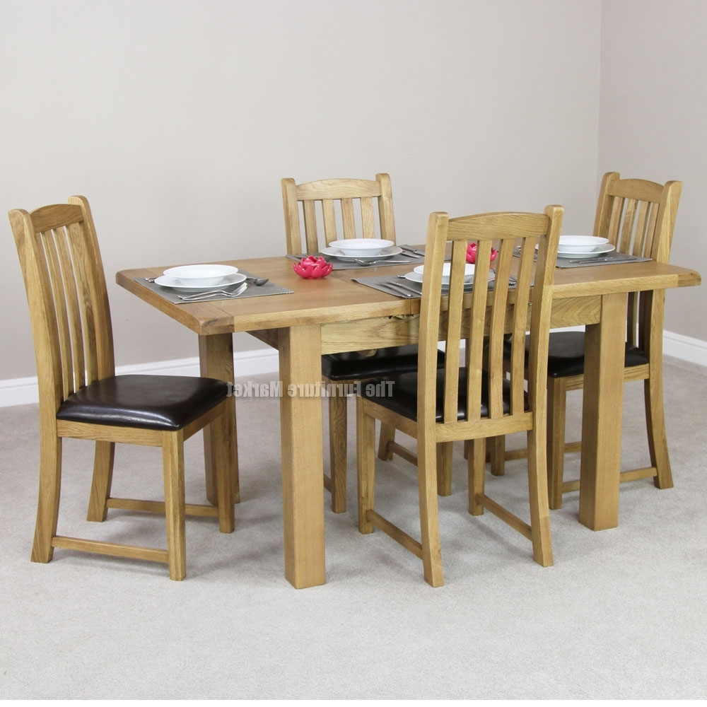 2018 Small Oak Dining Tables With Regard To Cheshire Rustic Oak Small Dining Table Set 4 Slat Back, Small Dining (Gallery 14 of 25)