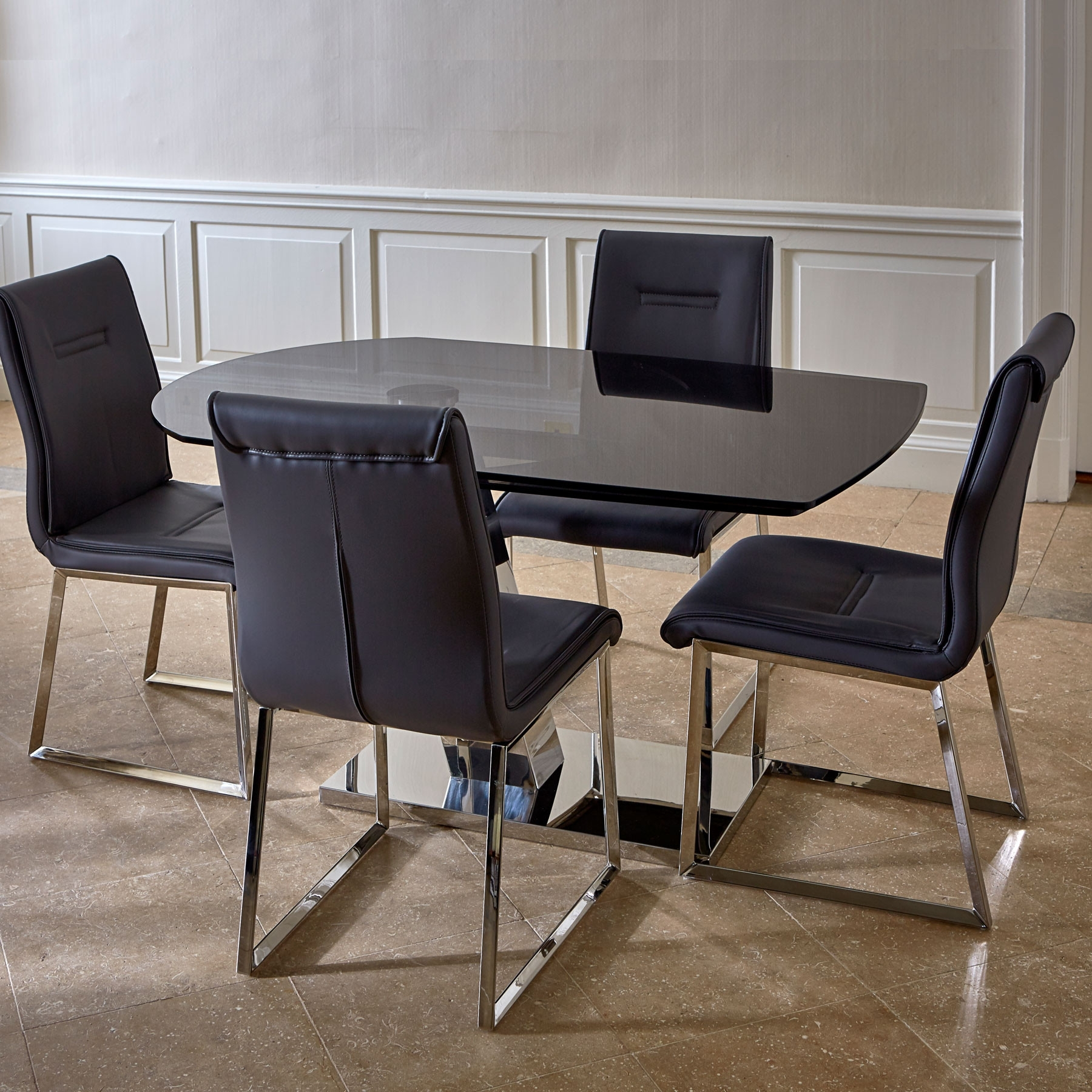 2018 Smoked Glass Dining Tables And Chairs inside Zena Extending Smoked Glass Dining Table & 4 Chairs