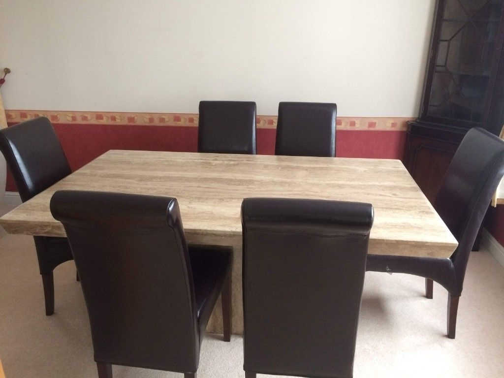 2018 Solid Marble Dining Tables pertaining to Solid Marble Dining Table With Matching Side Table And 6 Brown