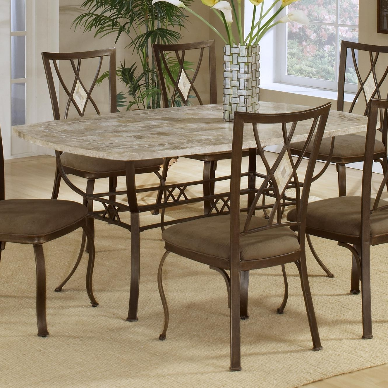 2018 Stone Dining Tables pertaining to Brookside Rectangle Dining Table With Fossil Stone Top
