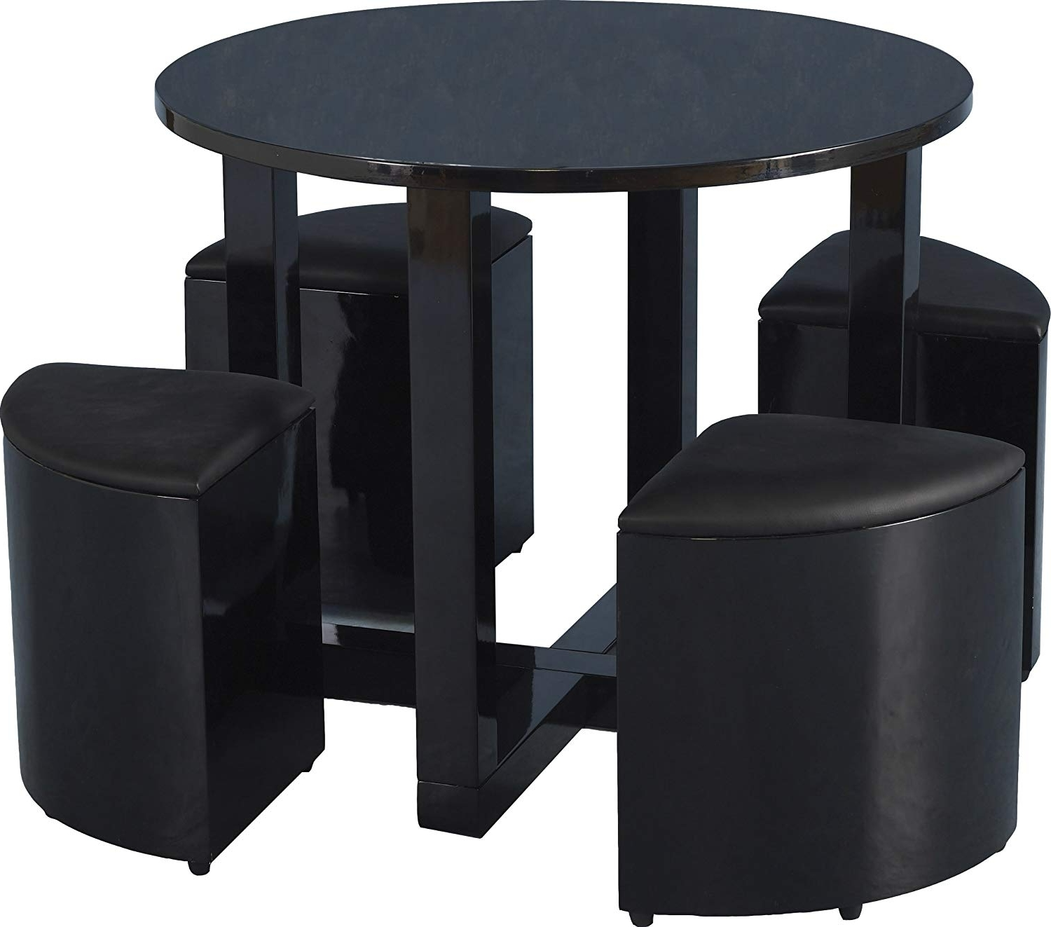 2018 Stowaway Dining Tables And Chairs Inside Seconique Charisma Stowaway 90Cm Black Gloss Dining Table And  (View 22 of 25)