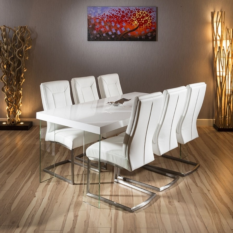 2018 Stunning Dining Set White Gloss Dining Table Glass Leg 6 X White inside White Gloss Dining Sets