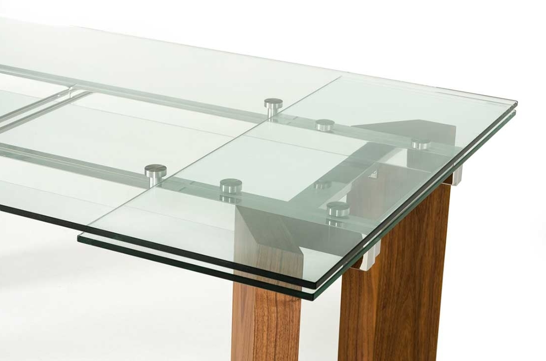 2018 Torino Collection Walnut Veneer W Tempered Glass Extendable Dining pertaining to Glass Folding Dining Tables