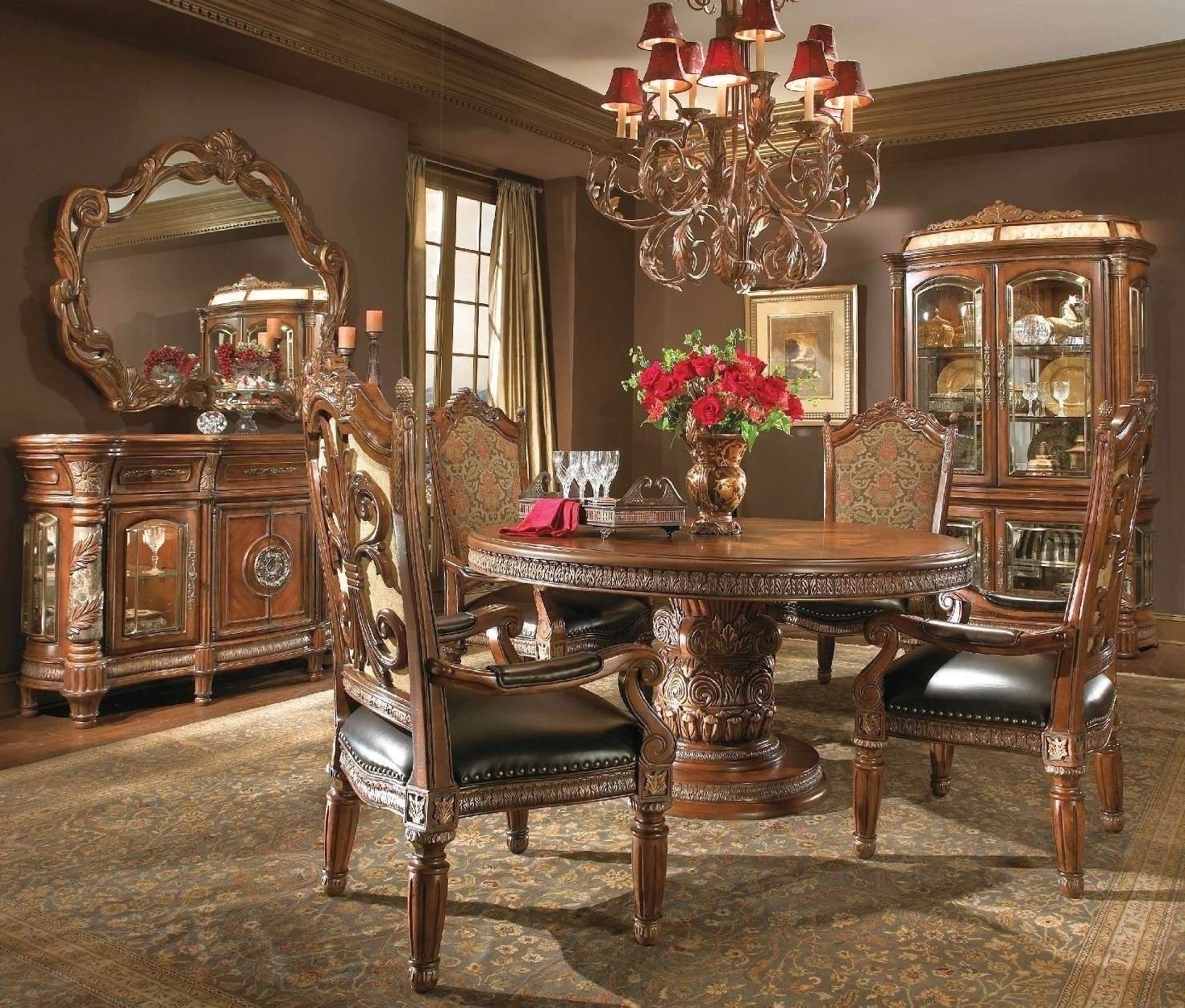 2018 Valencia 3 Piece Counter Sets With Bench In Michael Amini Villa Valencia Traditional Round Oval Table Chairs (View 1 of 25)