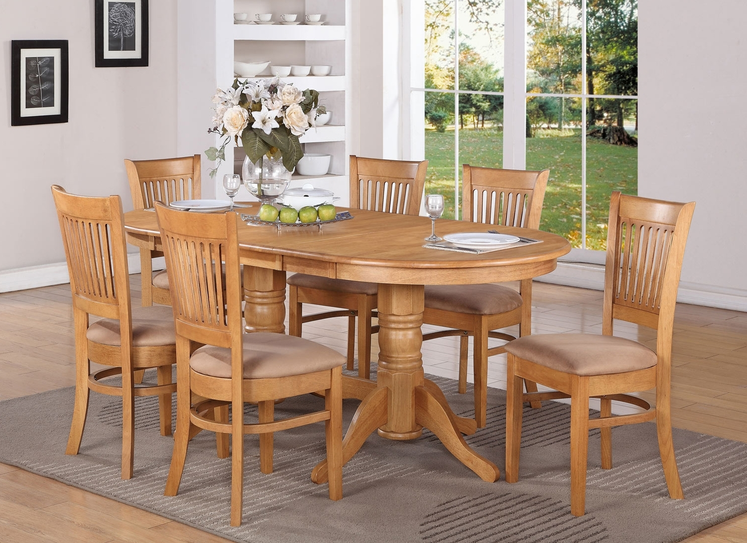 2018 Vancouver 7Pc Oval Dinette Dining Table 6 Microfiber Chairs,oak Finish With Regard To Oak Dining Set 6 Chairs (View 2 of 25)