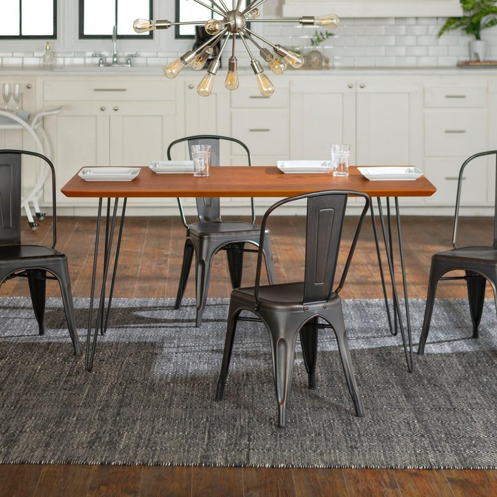 2018 Walker Edison Furniture Company Contemporary 5 Piece Walnut (Brown In Caira Black 5 Piece Round Dining Sets With Diamond Back Side Chairs (Gallery 6 of 25)