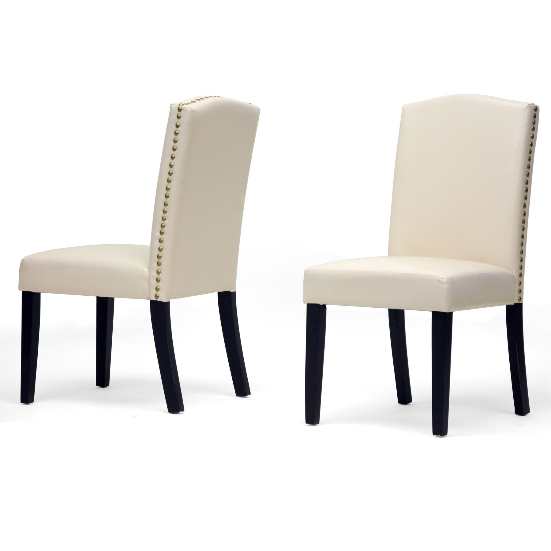 2018 White Leather Chairs With High Back Plus Black Wooden Legs French with High Back Leather Dining Chairs
