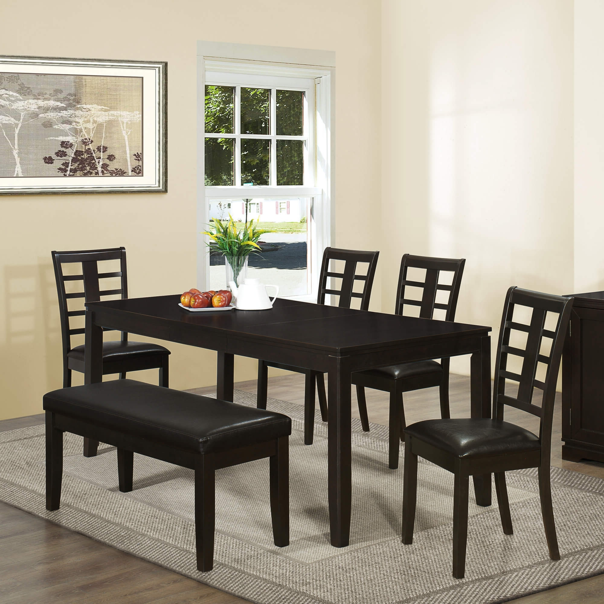 26 Dining Room Sets (Big And Small) With Bench Seating (2018) pertaining to Well known Black Wood Dining Tables Sets