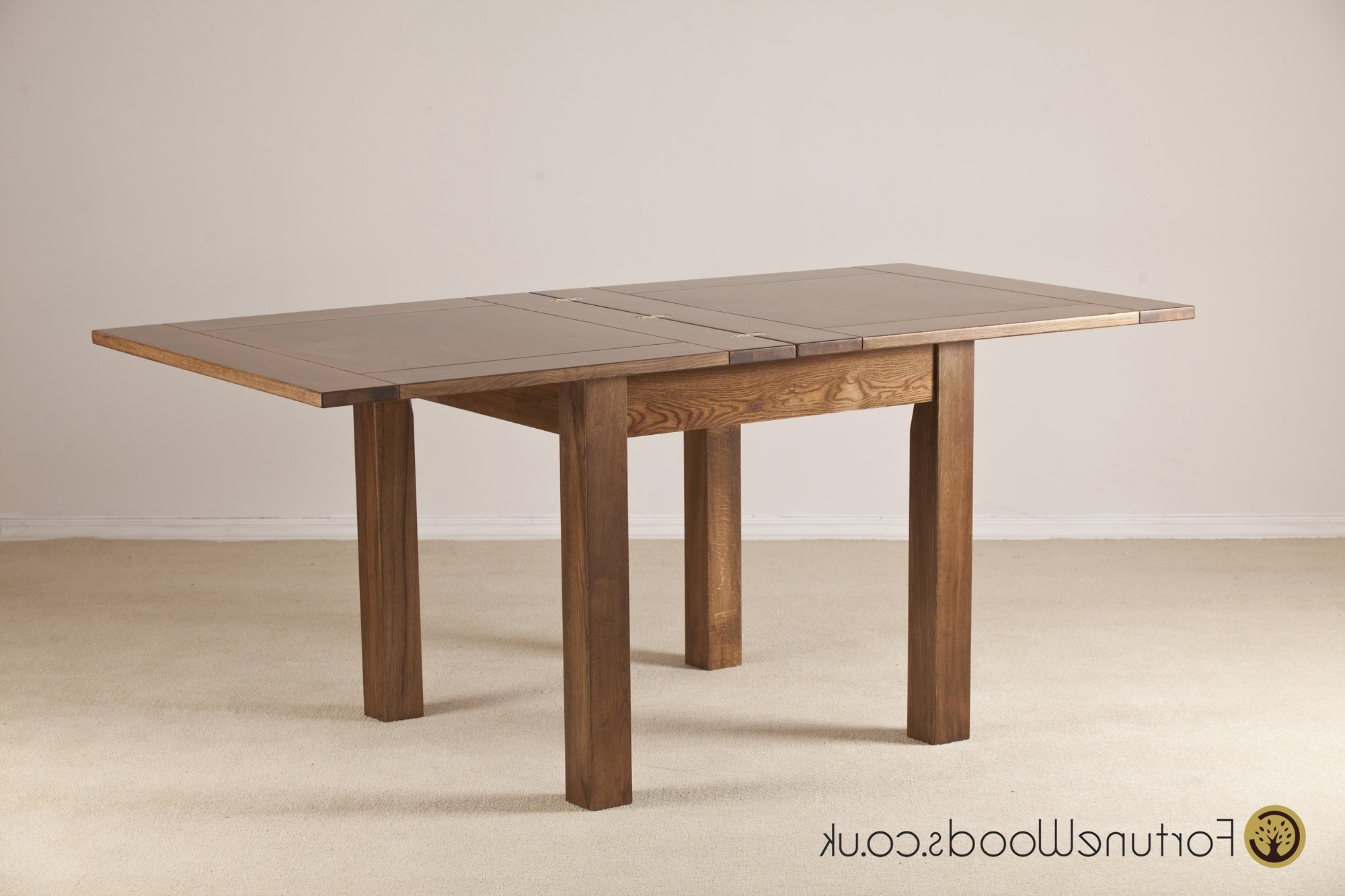 3' X 3' Flip Op Extending Oak Table From Fortune Woods in Best and Newest Flip Top Oak Dining Tables