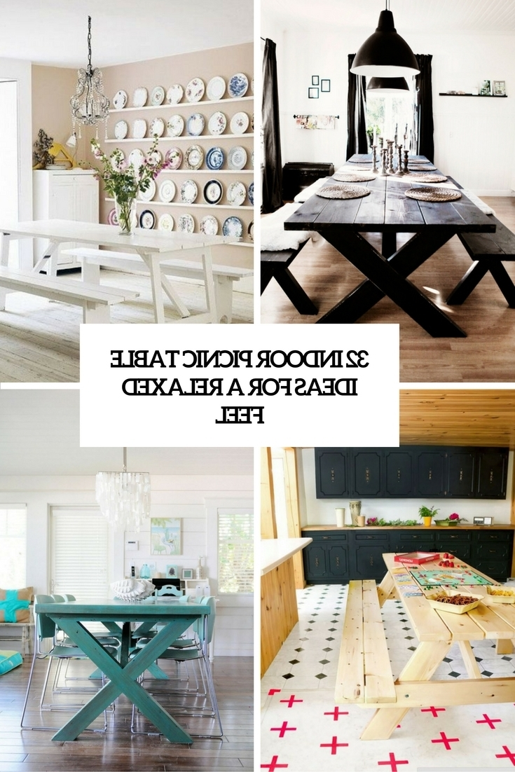 32 Indoor Picnic Table Ideas For A Relaxed Feel – Digsdigs Intended For Current Indoor Picnic Style Dining Tables (View 3 of 25)