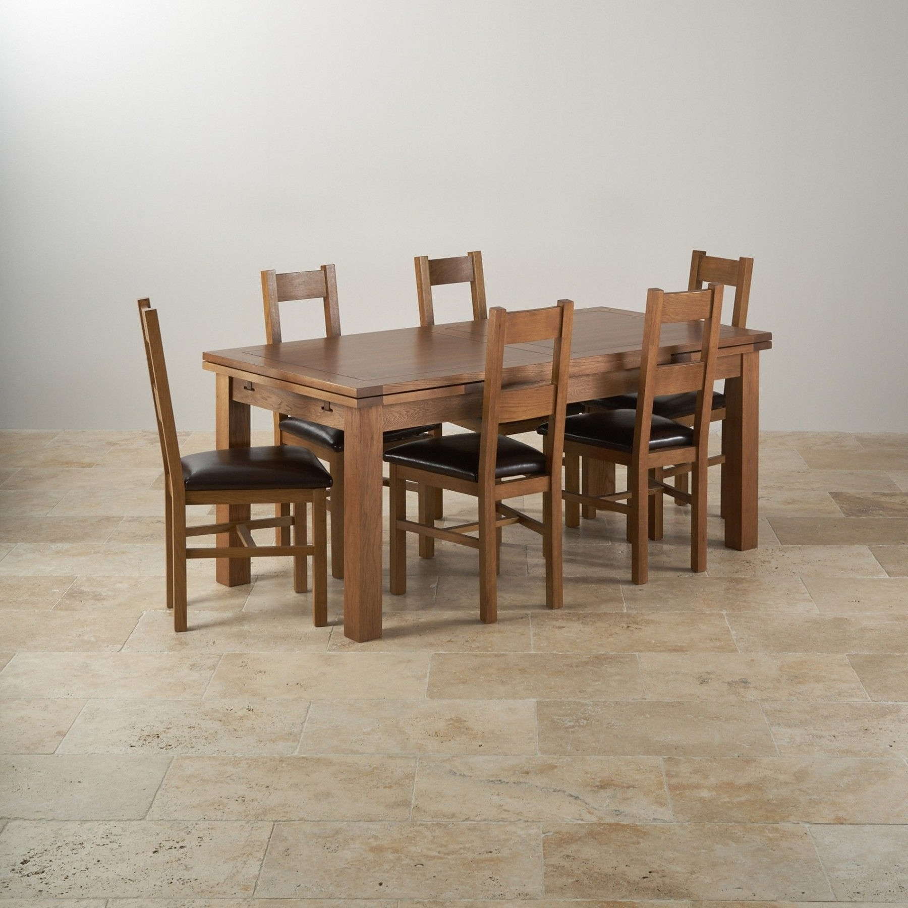 3Ft Dining Tables Pertaining To Recent The Rustic Solid Oak 6Ft X 3Ft Extending Dining Table With Six (View 3 of 25)