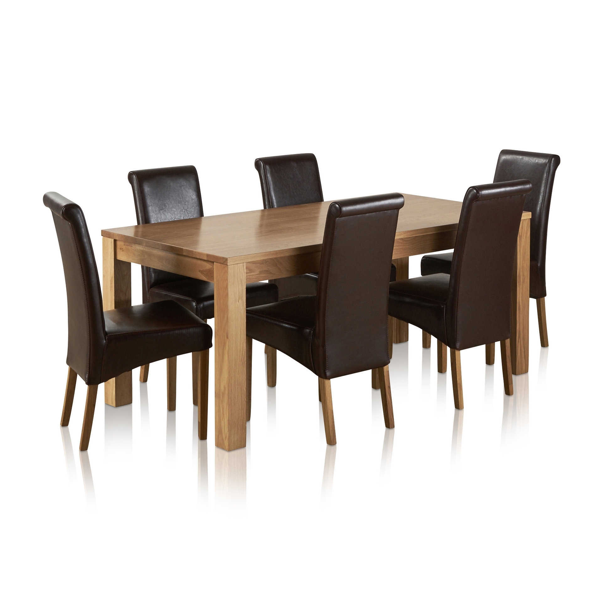 3Ft Dining Tables with regard to Recent Oakdale Natural Solid Oak 6Ft Dining Table 6 Brown Leather Chairs