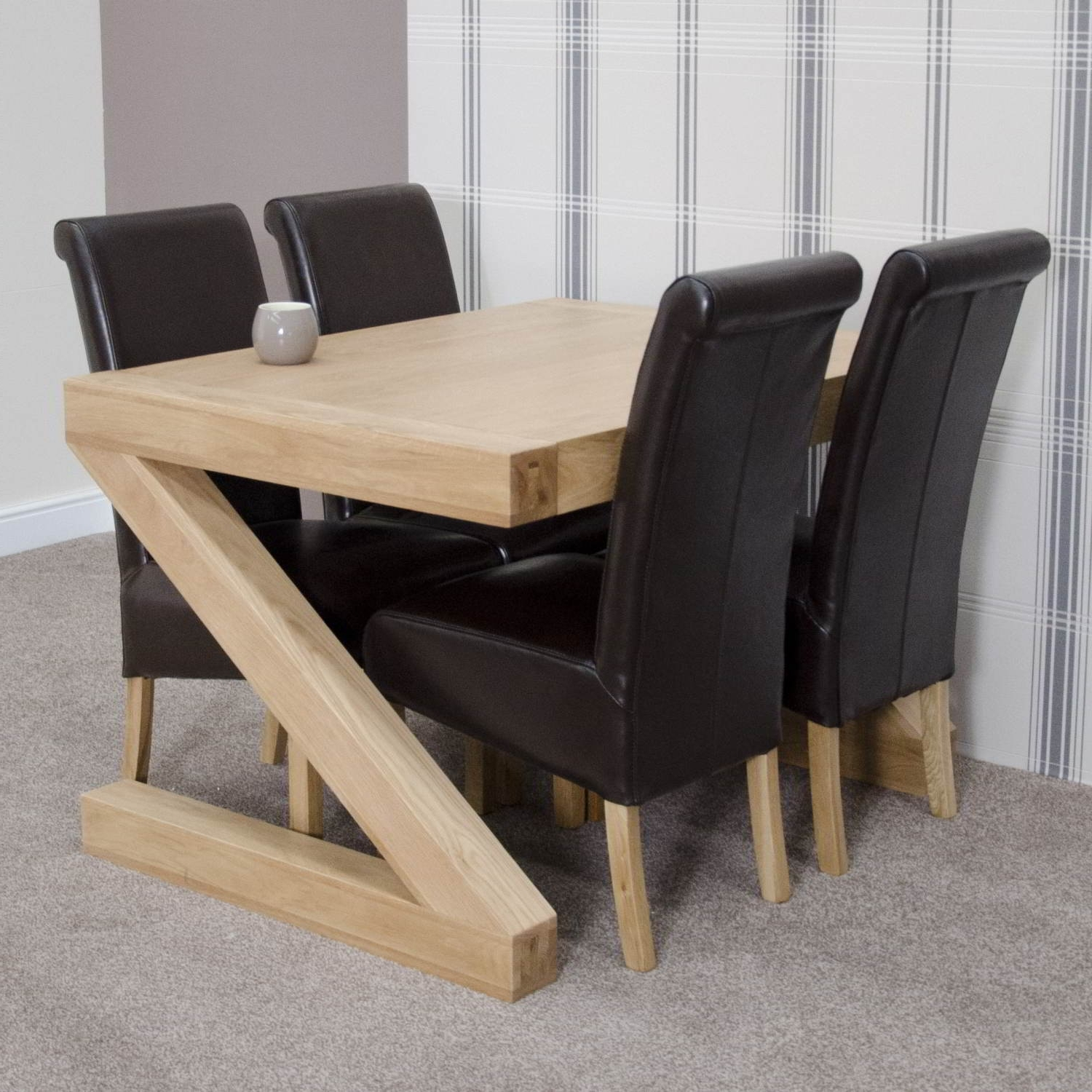 4 Seat Dining Tables Regarding Fashionable Z Solid Oak Designer Furniture Dining Table And Four Chairs Set (View 6 of 25)