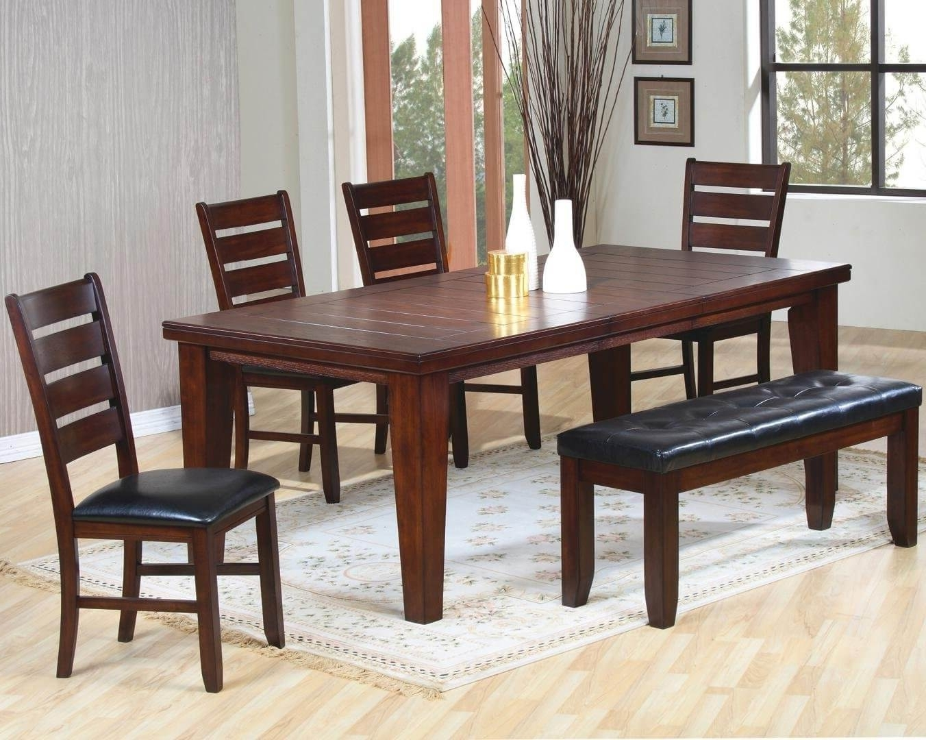 4 Seat Dining Tables Regarding Most Popular 26 Dining Room Sets (Big And Small) With Bench Seating (2018) (View 7 of 25)