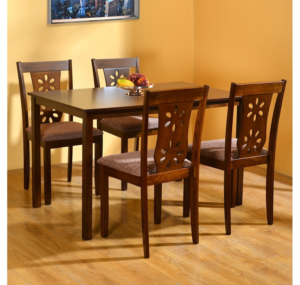 4 Seat Dining Tables within Preferred Buy Sutlej 4 Seater Dining Kit - @homenilkamal, Antique Cherry