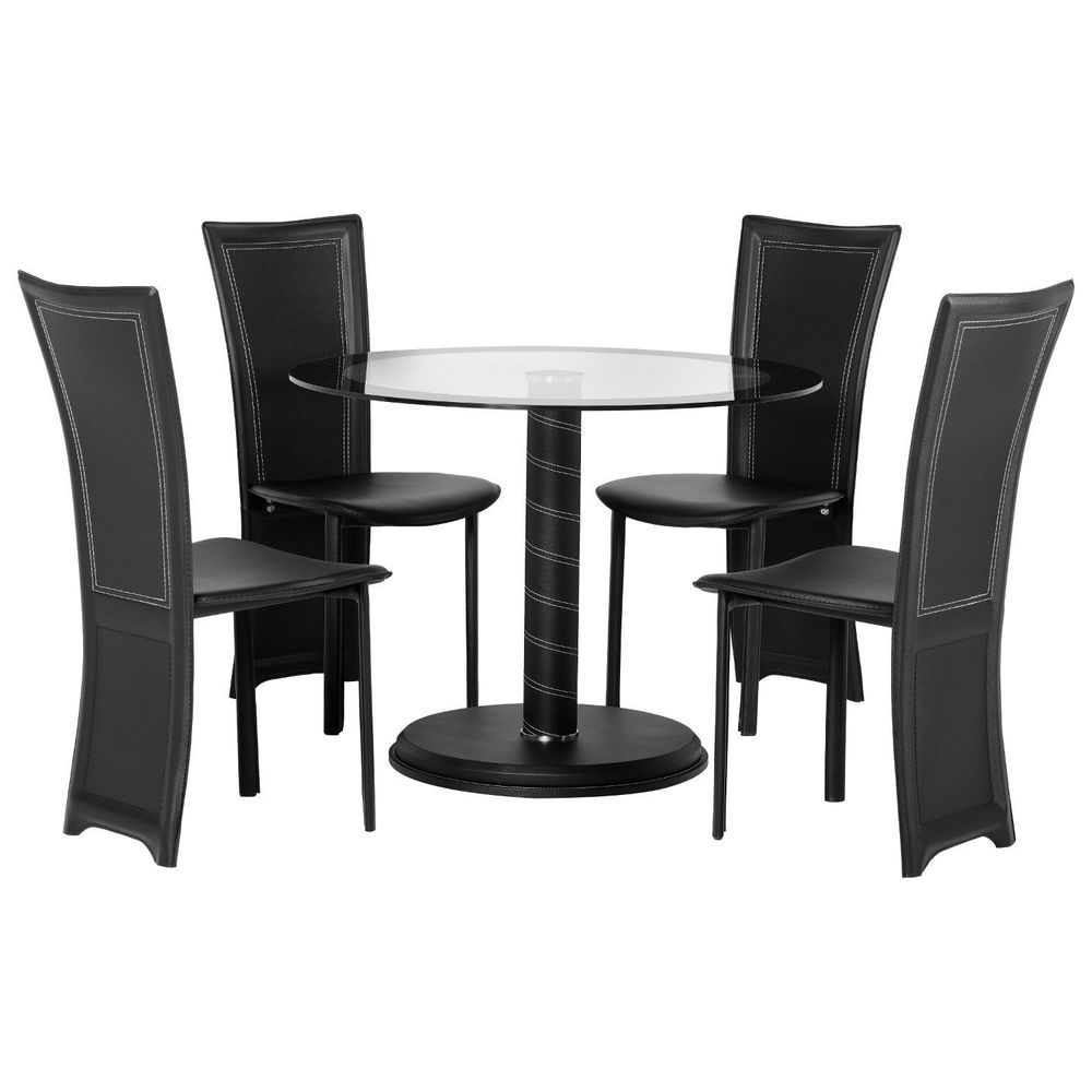 4 Seater Dining Set Glass Top Round Table Black Chair Plastic For Popular Round Black Glass Dining Tables And 4 Chairs (View 4 of 25)