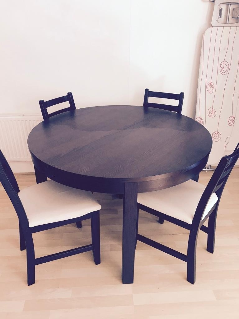 4 Seater Extendable Dining Tables Throughout Current Ikea Bjursta Round 4 Seater Extendable Dining Table Only – Does Not (View 6 of 25)
