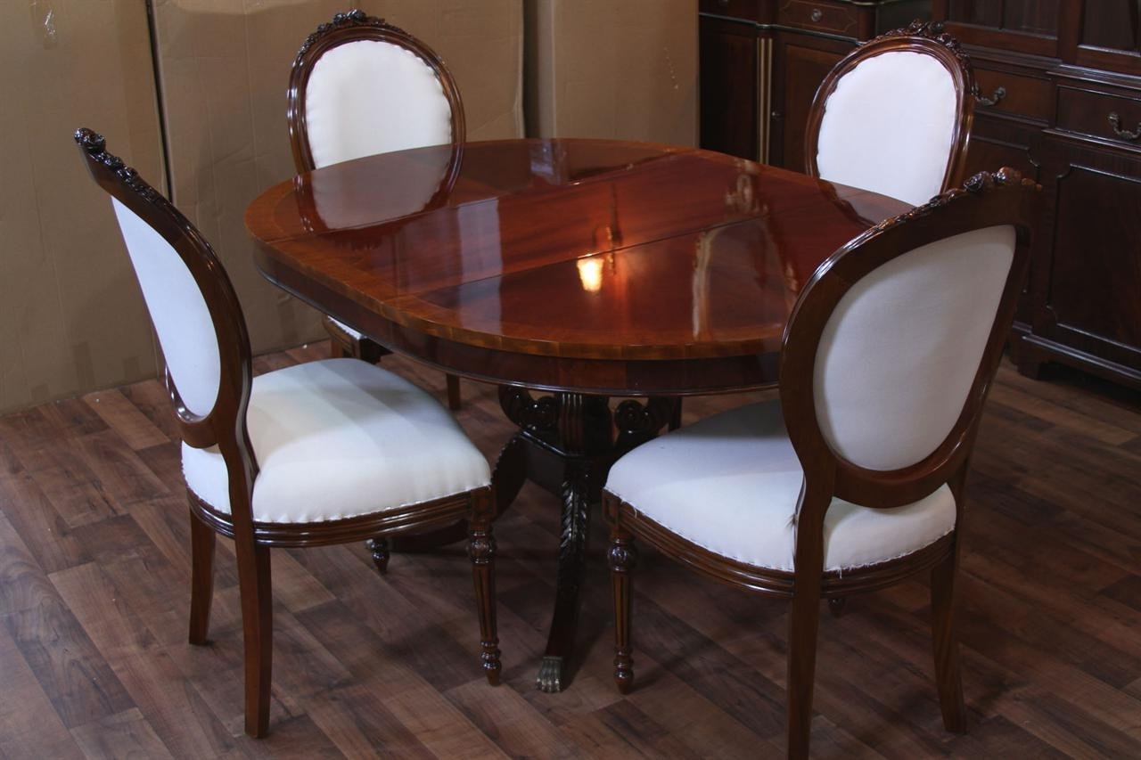 "44"" Round Dining Room Table & 1 Leaf. Lyre Pedestal With Well Known Mahogany Dining Tables And 4 Chairs (Gallery 24 of 25)"